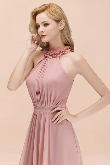 Modest High-Neck Halter Ruffle Chiffon Bridesmaid Dresses Affordable_57
