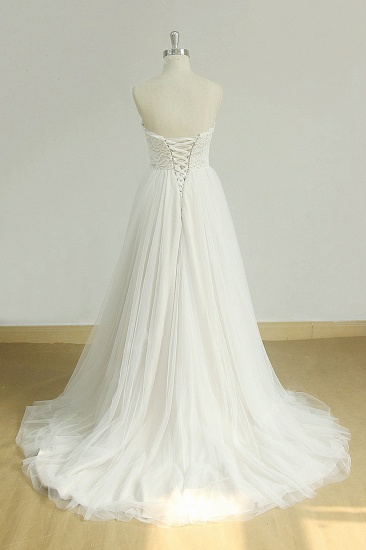 Sexy Sweetheart White Tulle Wedding Dress Lace A-line Ruffles Bridal Gowns On Sale_3