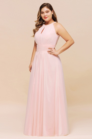 BMbridal Affordable Plus Size Chiffon Round Neck Pink Bridesmaid Dress_6