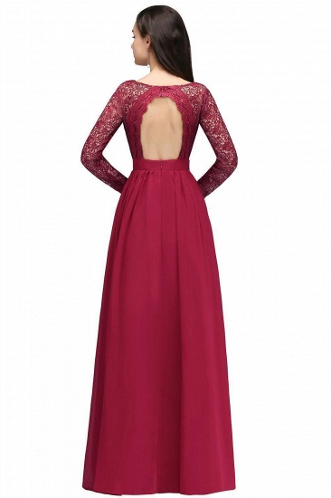 BMbridal Elegant A-line Chiffon Lace Long Sleeves Evening Dress_3