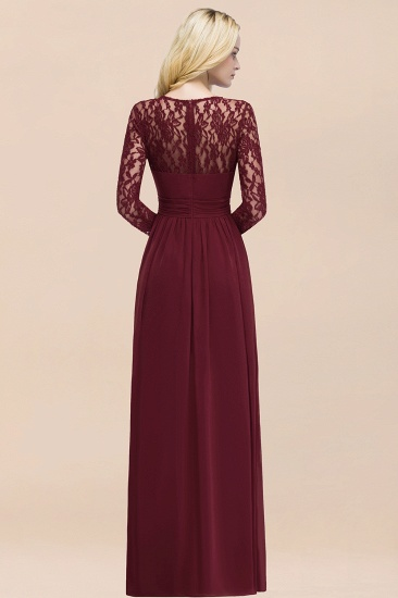 BMbridal Elegant Lace Burgundy Bridesmaid Dresses Online with Long Sleeves_52
