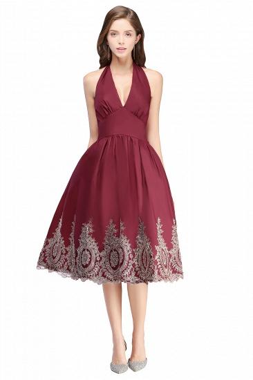 BMbridal Burgundy Halter Neck Cocktail Dress_1