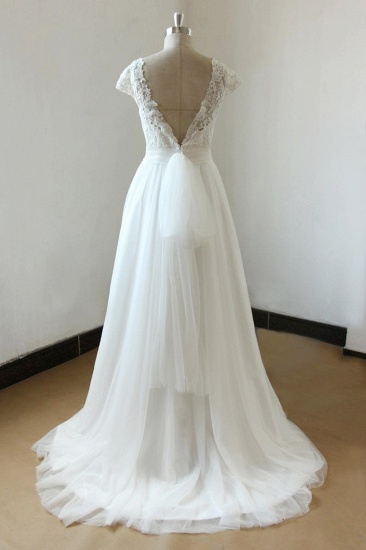 BMbridal Affordable Straps White Tulle Wedding Dress Appliques Lace A-line Bridal Gowns On Sale_3