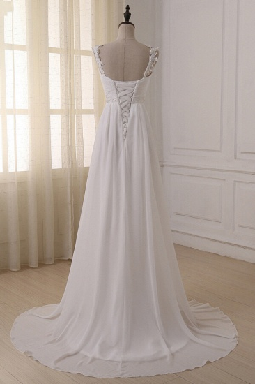 BMbridal Stylish Straps V-neck Chiffon Wedding Dress A-line White Appliques Bridal Gowns On Sale_5