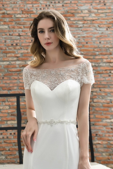 Mermaid Satin Lace Off the Shoulder Affordable Ivory Wedding Dress_10