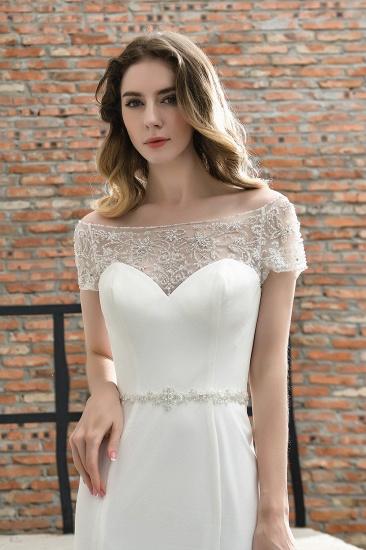 BMbridal Mermaid Satin Lace Off the Shoulder Affordable Ivory Wedding Dress_10