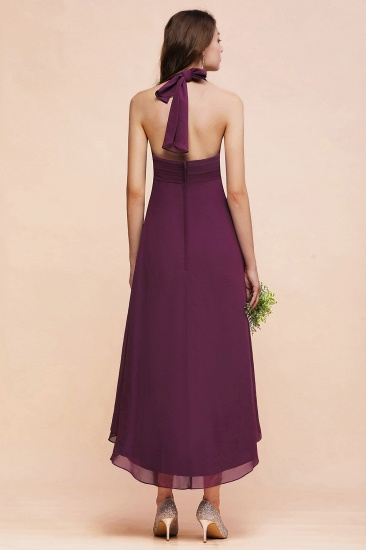 Stylish Hi-Lo Halter Grape Chiffon Affordable Bridesmaid Dresses with Ruffle_3