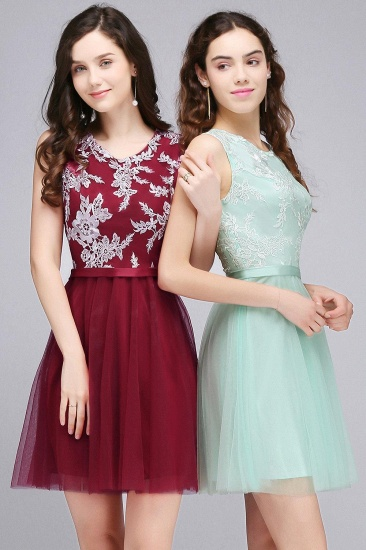 BMbridal Pink Short Homecoming Dress with Lace Appliques_8