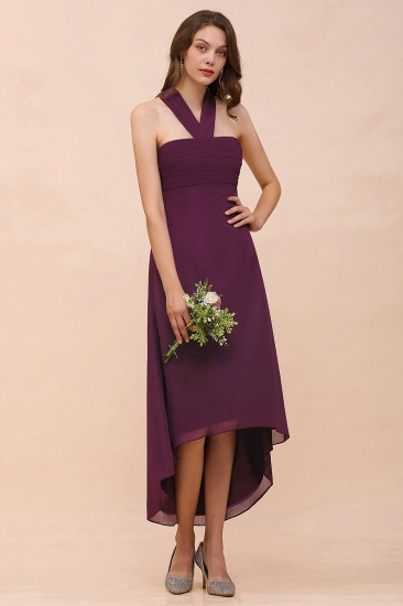 Stylish Hi-Lo Halter Grape Chiffon Affordable Bridesmaid Dresses with Ruffle_5