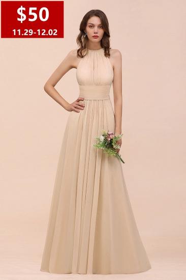 Chiffon Jewel Ruffle Champagne Bridesmaid Dress