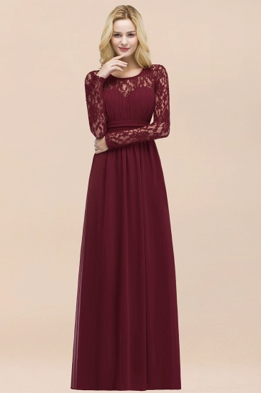 BMbridal Elegant Lace Burgundy Bridesmaid Dresses Online with Long Sleeves_53