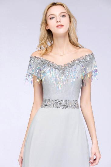 BMbridal A-line Jewel Short Sleeves Sequins Evening Dress with Tassels_5
