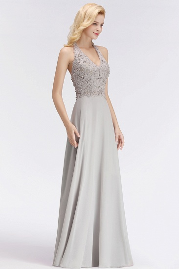 BMbridal A-line Halter Chiffon Lace Bridesmaid Dress with Beadings_4