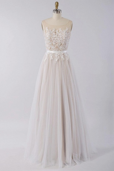 Affordable Sleeveless Jewel Appliques Wedding Dress Tulle Ruffles A-line Bridal Gowns On Sale_1