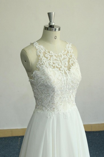 Unique White Jewel Sleeveless Wedding Dress Appliques Chiffon Bridal Gowns On Sale_6