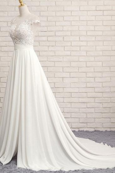 Elegant Chiffon Sleeveless Appliques Wedding Dress A-line Jewel White Bridal Gowns On Sale_4