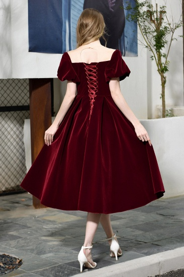 Vintage Bugrundy Short Sleeve Prom Dress Tea-Length Party Gowns With Lace-up_3