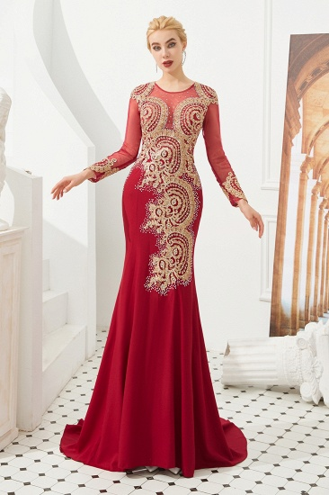 Burgundy Long Sleeve Mermaid Prom Dress With Gold Appliques Online_5