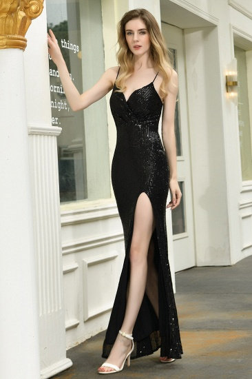 Sparkly Black Sequins Spaghetti Straps V-Neck Affordable Prom Dress_7