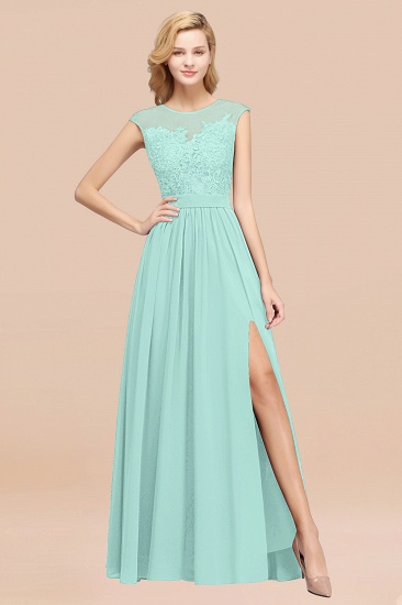Affordable Scoop Lace Appliques Yellow Bridesmaid Dresses with Slit_36