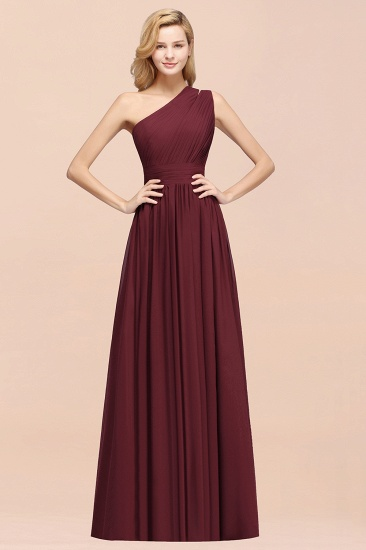 One-shoulder Sleeveless Long Bridesmaid Dress