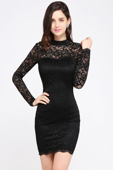 BMbridal High Neck Long Sleeve Lace Black Sexy Cocktail Dress_1