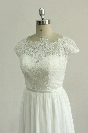Gorgeous Appliques Chiffon Wedding Dress White Shortsleeves A-line Bridal Gowns On Sale_4