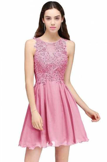 BMbridal Burgundy A-line Homecoming Dress with Lace Appliques_2