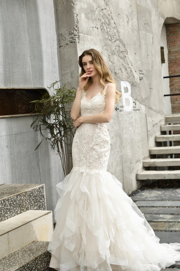 BMbridal Gorgeous Mermaid Tulle Appliques Ivory Wedding Dress_8