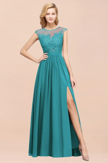 Cheap Scoop Lace Appliques Yellow Bridesmaid Dresses with Slit_53