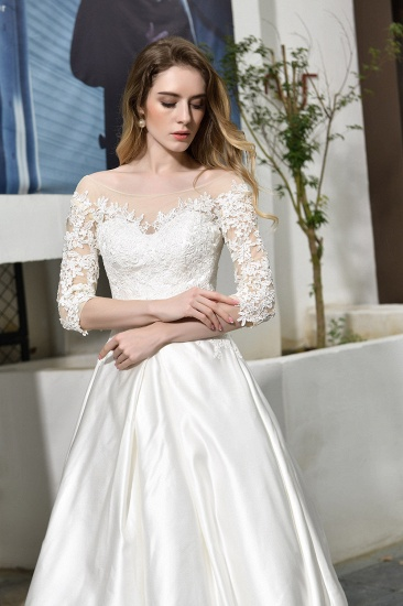 BMbridal Elegant A-Line Satin Lace 3/4 Sleeves Ankle Length Wedding Dress_11