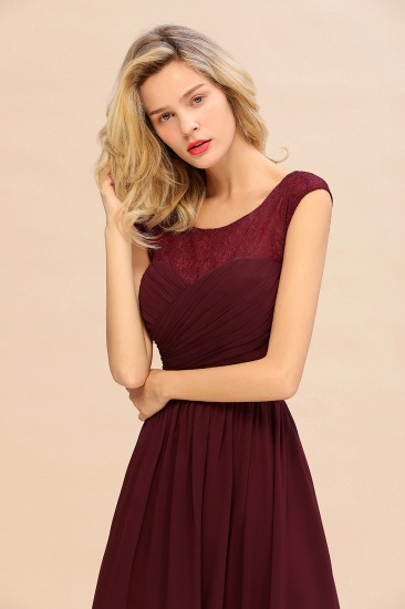 BMbridal Modest Burgundy Chiffon Sleeveless Ruffle Bridesmaid Dress Affordable_9