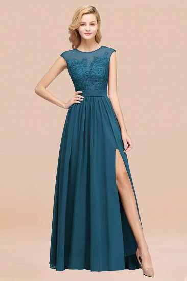 Affordable Scoop Lace Appliques Yellow Bridesmaid Dresses with Slit_27