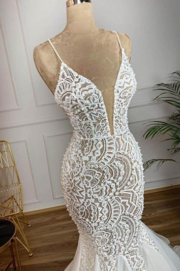 BMbridal Affordable Mermaid Spaghetti Straps Lace Wedding Dresses Ivory Sleeveless Bridal Gowns With Appliques Online_3