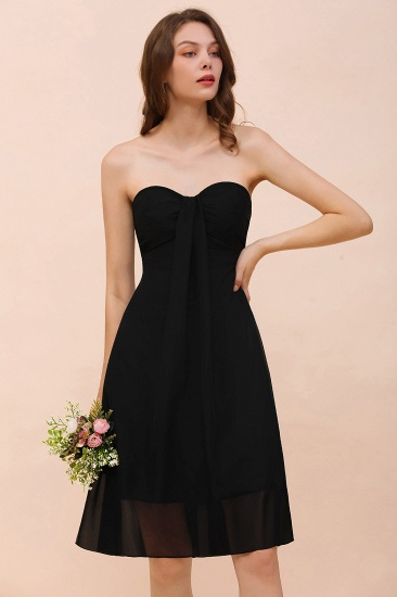 Lovely Strapless Sweetheart Ruffle Short Black Bridesmaid Dress Affordable_7