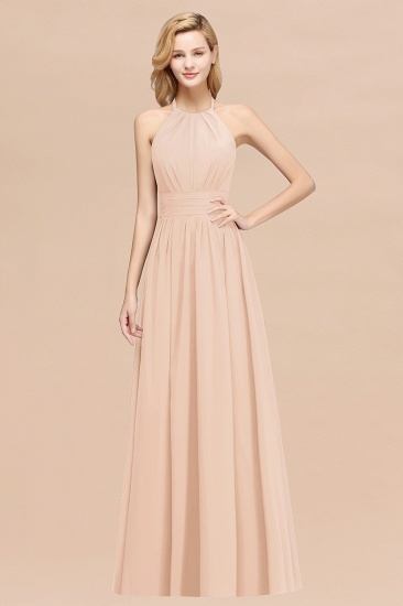 Elegant High-Neck Halter Long Affordable Bridesmaid Dresses with Ruffles_5