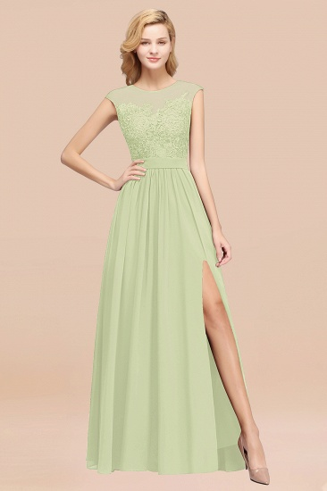 Affordable Scoop Lace Appliques Yellow Bridesmaid Dresses with Slit_35