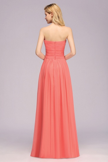 Affordable Sweetheart Strapless Chiffon Bridesmaid Dress with Flower_3