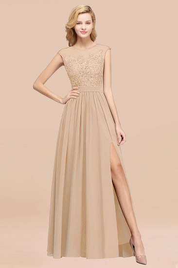 Affordable Scoop Lace Appliques Yellow Bridesmaid Dresses with Slit_14