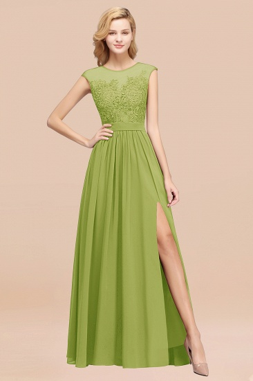 Affordable Scoop Lace Appliques Yellow Bridesmaid Dresses with Slit_34