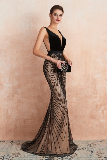 BMbridal Sexy Black Lace Mermaid Prom Dress Long Sleeveless Evening Party Gowns Online_5