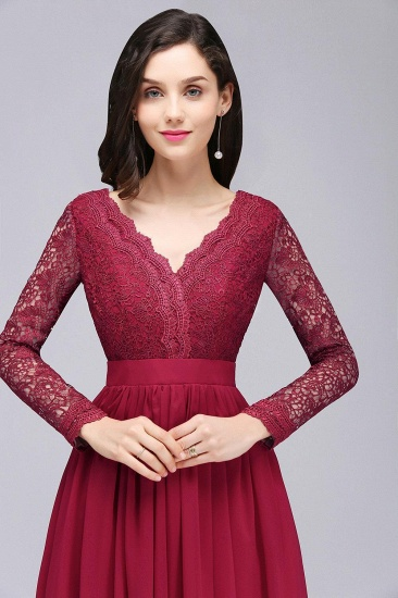 BMbridal Elegant A-line Chiffon Lace Long Sleeves Evening Dress_7