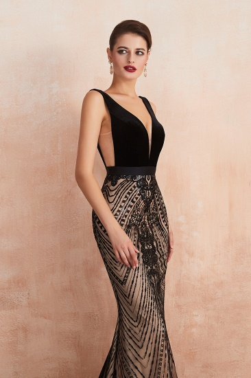 BMbridal Sexy Black Lace Mermaid Prom Dress Long Sleeveless Evening Party Gowns Online_7