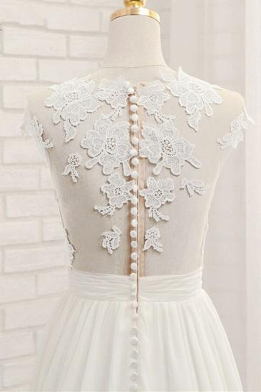 Elegant Chiffon Sleeveless Appliques Wedding Dress A-line Jewel White Bridal Gowns On Sale_7