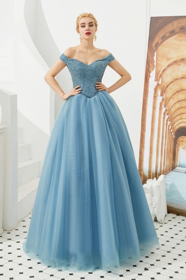 BMbridal Princess Off-the-Shoulder Prom Dress Beadings Sweetheart Ball Gown Evening Gowns_5
