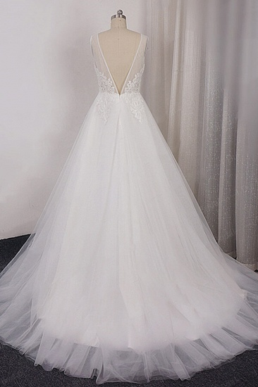BMbridal Glamorous V-neck Straps Sleeveless Wedding Dress Appliques Tulle A-line Bridal Gowns On Sale_3