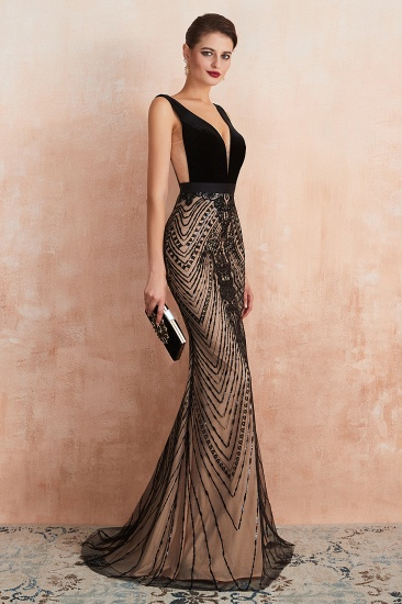 BMbridal Sexy Black Lace Mermaid Prom Dress Long Sleeveless Evening Party Gowns Online_8