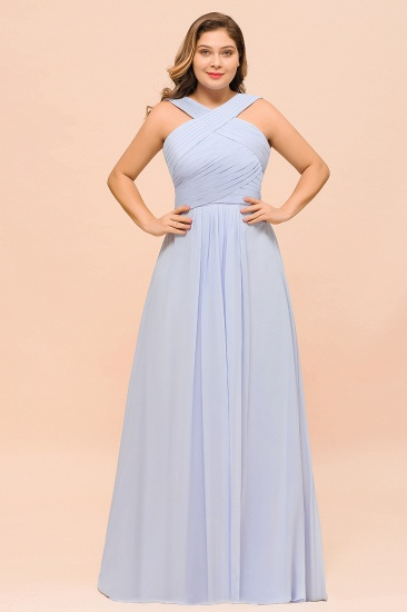 Plus Size Affordable Lavender Chiffon Bridesmaid Dresses with Ruffle_5