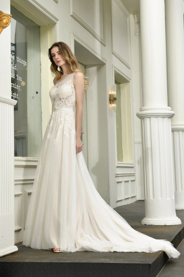 Sexy A-Line One Shoulder Tulle Lace Ivory Wedding Dress Online_11