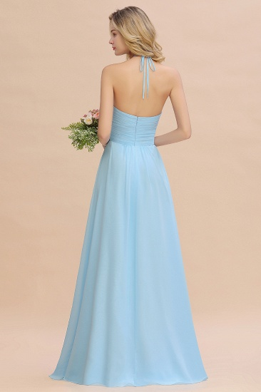 Glamorous Halter Backless Long Affordable Bridesmaid Dresses with Ruffle_3